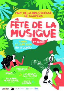 22 Juin Parc de la bibliothèque à Gouvieux 15H-20h30 avec  Médiator, Nuage, Alain Ginapé & Équilibre, Deeva, Les Doigts qui Collent